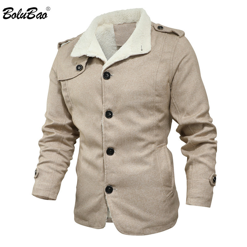 BOLUBAO Winter New Men Wool Blend Coats Quality Brand Men's Fashion Casual Overcoat Solid Color Wool Blend Coat Male