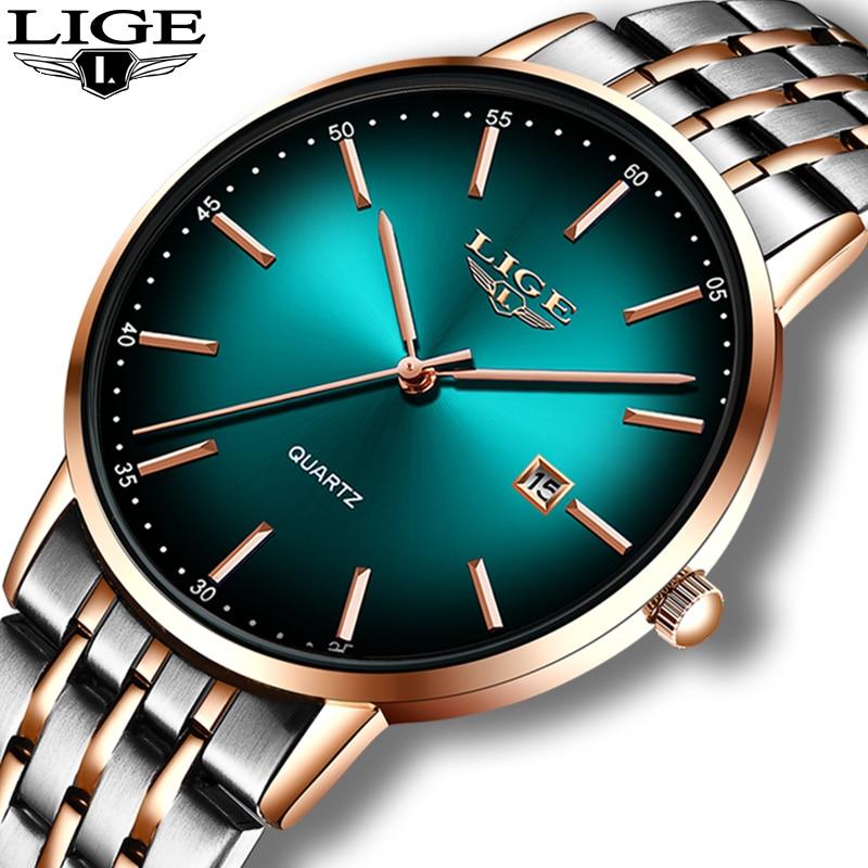 LIGE Luxury Ladies Watch Women Waterproof Rose Gold Steel Strap Women Wrist Watches Top Brand Bracelet Clocks Relogio Feminino 2
