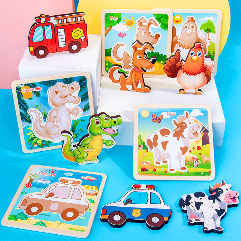 Children Wood 3D Jigsaw Puzzle Baby Early Childhood Educational Animal Traffic Fruit Cognitive Jigsaw Puzzle Clutch Plate