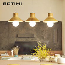 BOTIMI Solid Wood LED Pendant Light For Dining Room Modern Wooden Lamp Bar Long Table Hanging Loft Lighting Fixtures