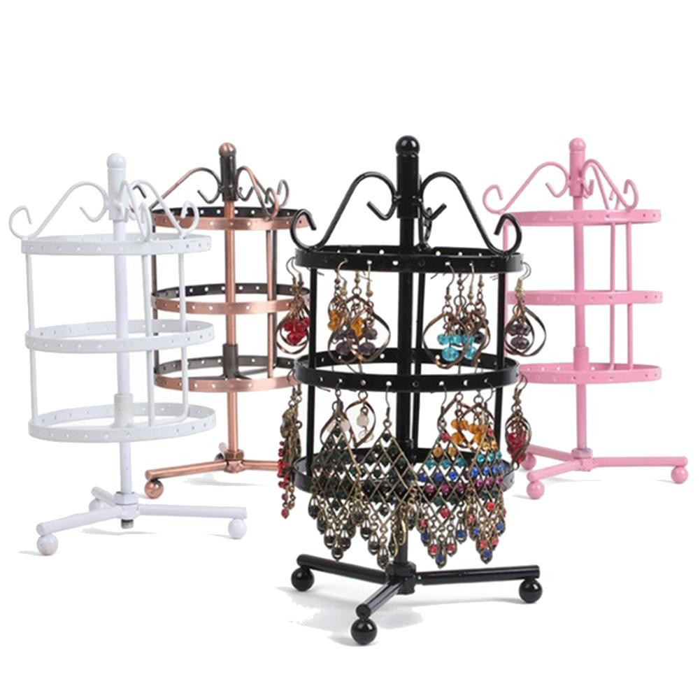 72 Holes Metal Jewelry Rack Necklace / Rings  Holder Organizer Hanging Rotary Display Stand Decor Gift For Women Accessories New