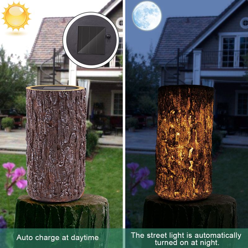 Solar Powered Stump Light Garden Decorative Landscape Pathway Light For Backyard Patio Garden Pathway Decor Driveway Camping