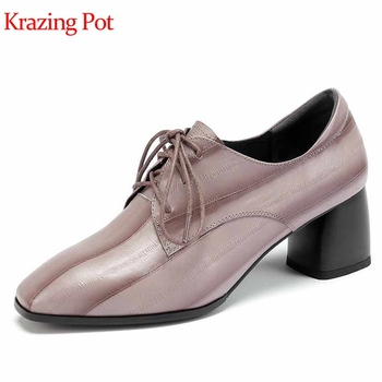 Krazing Pot sheep leather gingham prints leather high heel round toe lace up handmade Autumn mature lady elegant women pumps L18