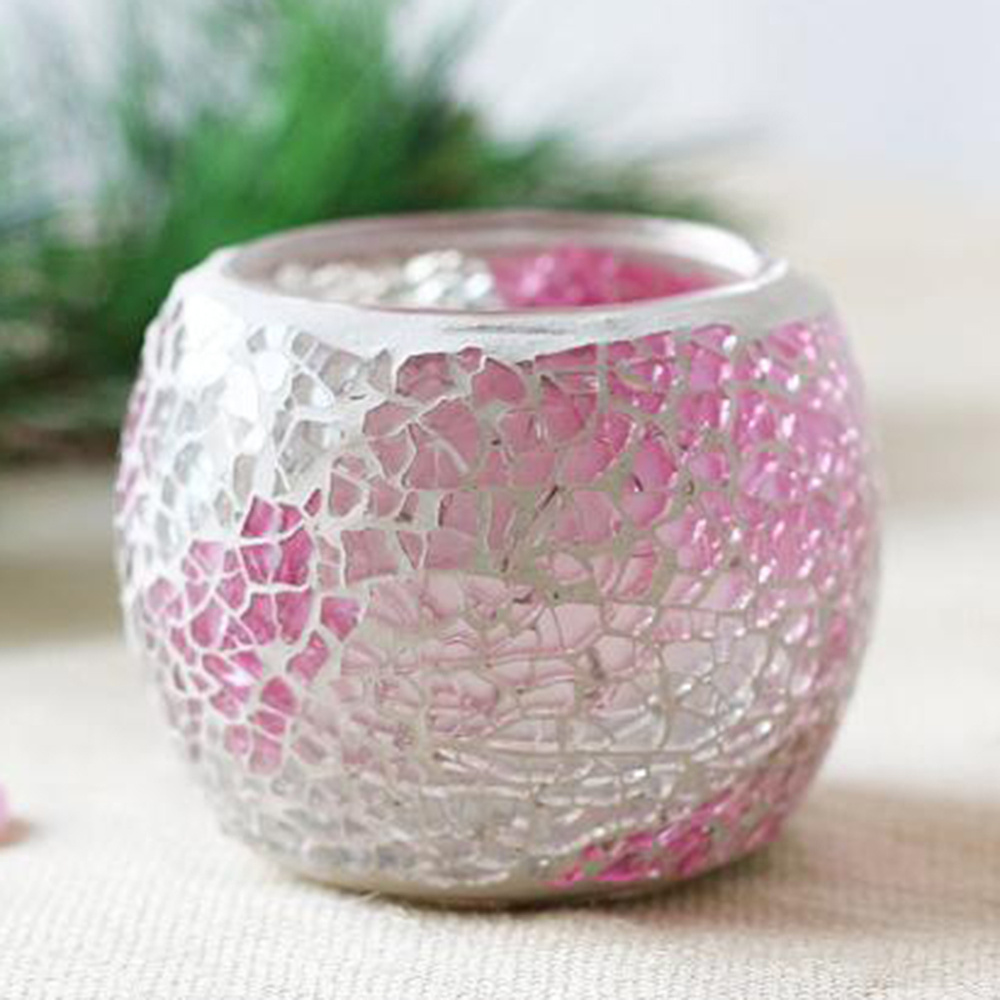 Mosaic Glass Candlestick Candle Holders Cup Tealight Candle Holder Candlestick Centerpieces for Valentines Day Wedding Decoratio