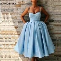 New Arrival Satin Sky Blue Evening dress short 2020 Robe de soiree abiye Cheap evening dresses Formal Party dress