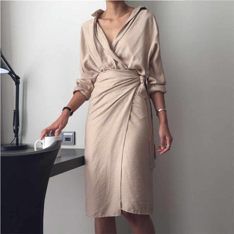 Xếp ly Cao Cấp Nữ Gợi Cảm Vintage Nữ Công Sở Màu Be ĐẦM DỰ TIỆC Dài Tay Mới Linen Midi Đầm Áo Sơ Mi vestidos