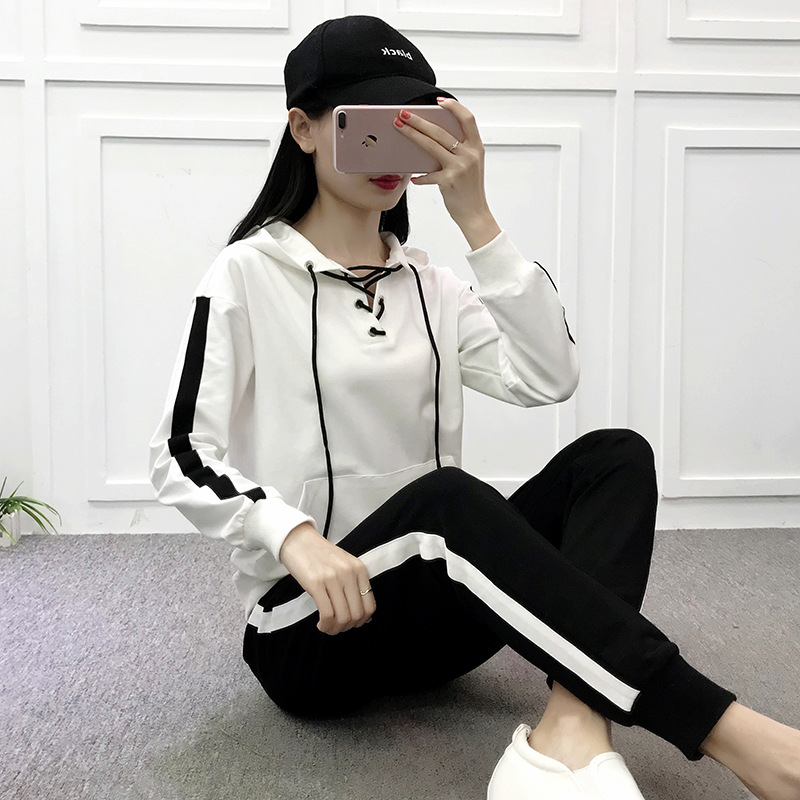 Spring And Autumn New Style WOMEN'S Dress Leisure Suit Korean-style Fashion Hooded Casual Sports Clothing Sports WOMEN'S Suit Tw