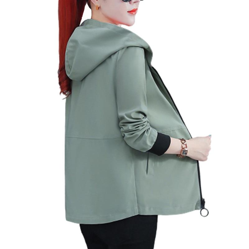 Women's Hooded Jackets 2020 Summer Autumn Causal Windbreaker Reversible Baseball Coats Zipper Lightweight Jackets Bomber Famale