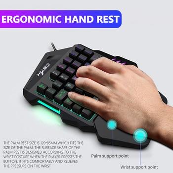 Volledige Set Toetsenbord Muis Combo Gaming Mechanische Mini Backlit Een Hand Multicolor Wired Game Toetsenborden voor Tafel Desktop PC
