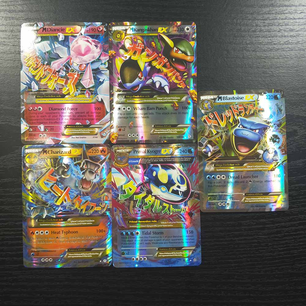 TAKARA TOMY Pokemon Cards 100pcs Flash Cards Collections Battle Shining Card Board Game Children Toys Gifts 80 EX 20 MEGA
