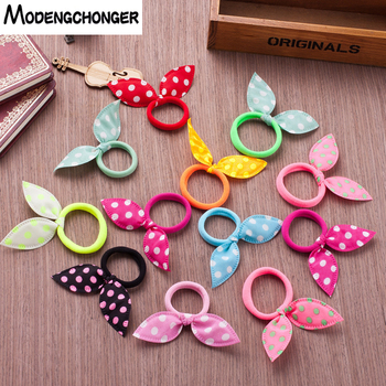 10Pcs Kids Rabbit Ears Hair Band Cute Polka Dot Bow Hair Tie Headband Girl Hair Ring Scrunchy Children Ponytail Hair Accessories цена 2017