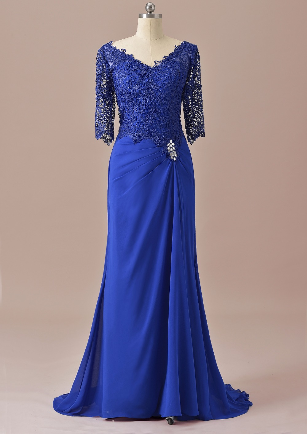 Mermaid Half Sleeves Lace Mother Of The Bride Dress Royal Blue For Wedding Groom 2019 Long Formal Evening Dress SLD-M14
