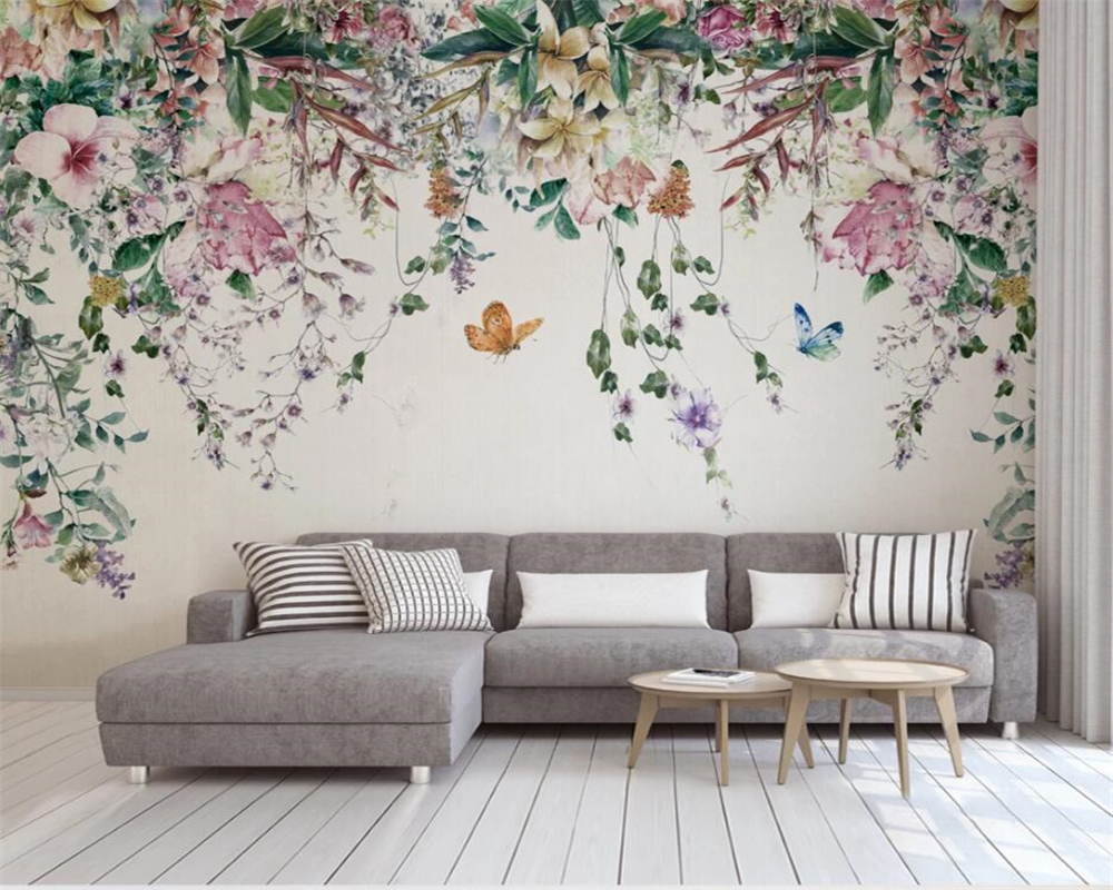 Beibehang Custom Wallpaper Modern Fresh Watercolor Vine Flower Mural Home Decoration Painting Room TV Background 3d Wallpaper