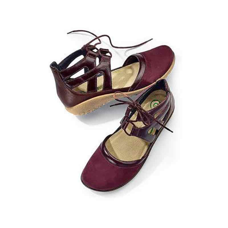2019 Wanita Retro Sepatu Flat Fashion Renda Bulat Toe Pergelangan Kaki Sepatu Bot Pendek Plus Ukuran Lembut Perempuan Buty damskie