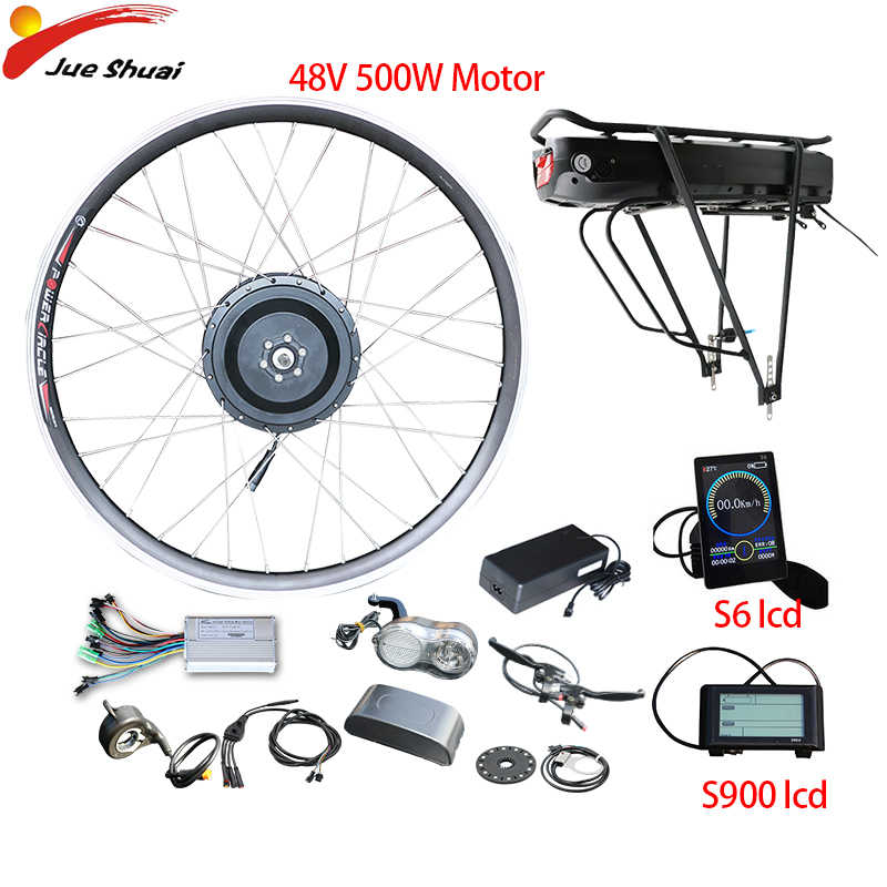 48V 18AH Rear Rack Battery Electric Bike Conversion Kit 48V 500W Rear Motor Wheel with LCD display Ebike Kit Electric Bicycle