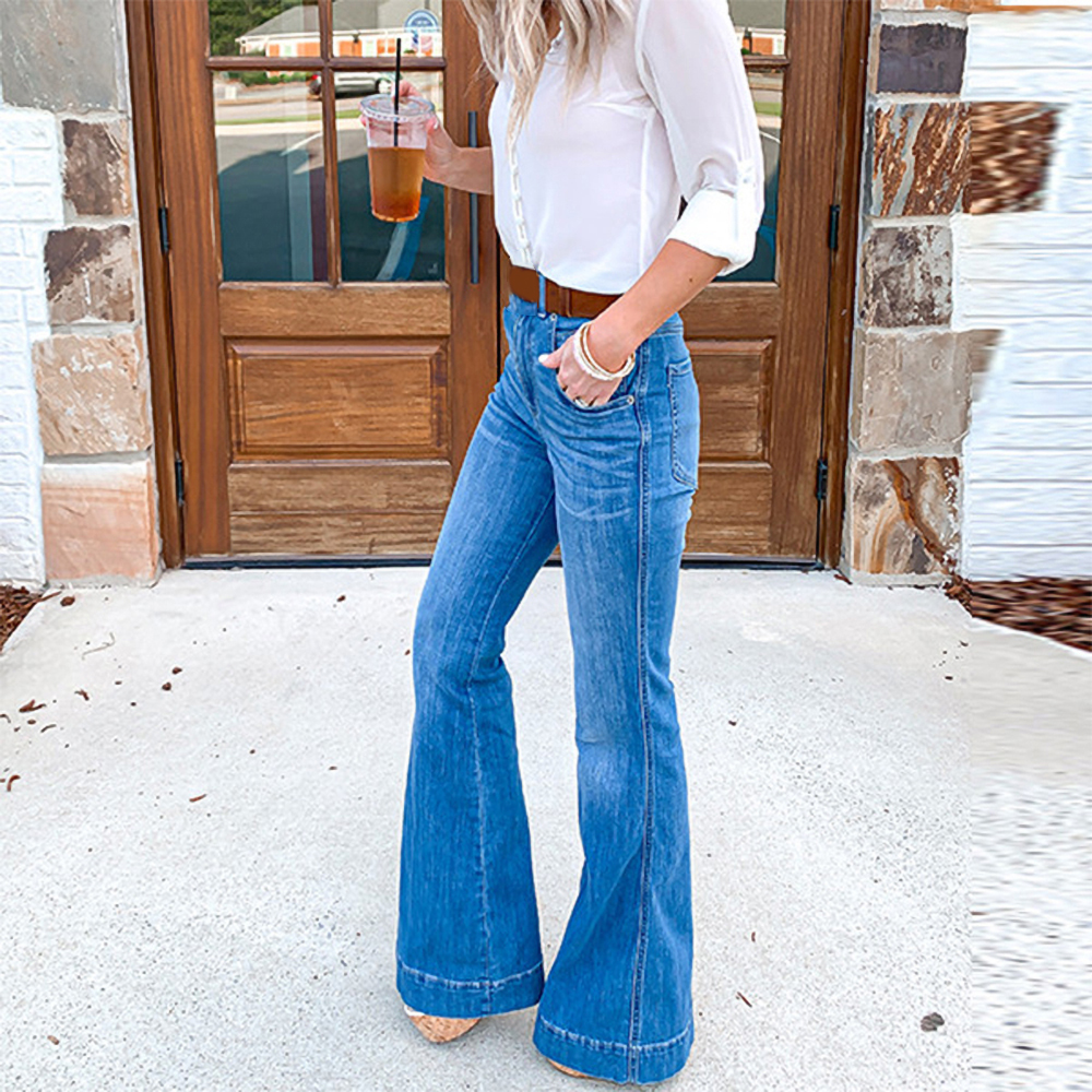 Casual Vintage Woman Jeans Autumn Jeans Slim Slimming Pant Denim Wide Leg Pants Oversize High Waist Jean For Shopping Working