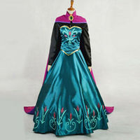 Halloween Party Dresses Cosplay Princess Elsa Anna Costume Long Dress US