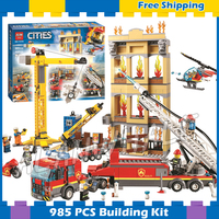 985pcs City Arctic Downtown Fire Brigade Ladder Truck Crane Helicopter 11216 Figure Building Blocks Toys Compatible with Lego