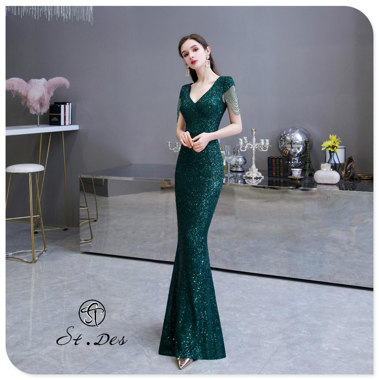 S.T.DES Evening Dress 2020 New Arrival Atrovire Beading Mermaid V-Neck Atrovire Sleeveless Floor Length Party Dress Dinner Gowns
