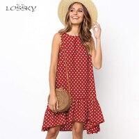 Lossky женское летнее платье в горошек, шифоновое, без рукавов, Пляжное, мини, повседневное, желтое, сарафан, 2020 размера плюс, платье для женщин, ...