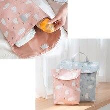 Многофункциональный органайзер для детских подгузников, многоразовый, водонепроницаемый, с модными принтами, влажная/сухая сумка, сумка для хранения, дорожная сумка для подгузников, маленький размер