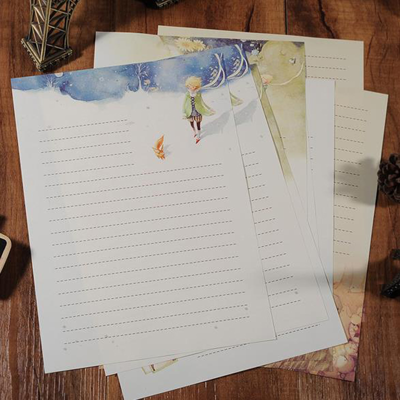 8 Pcs/pack Cute Fairy Tales The Little Prince Story Four Season Plants Flowers Painting Letters Paper Writing Letters Stationery