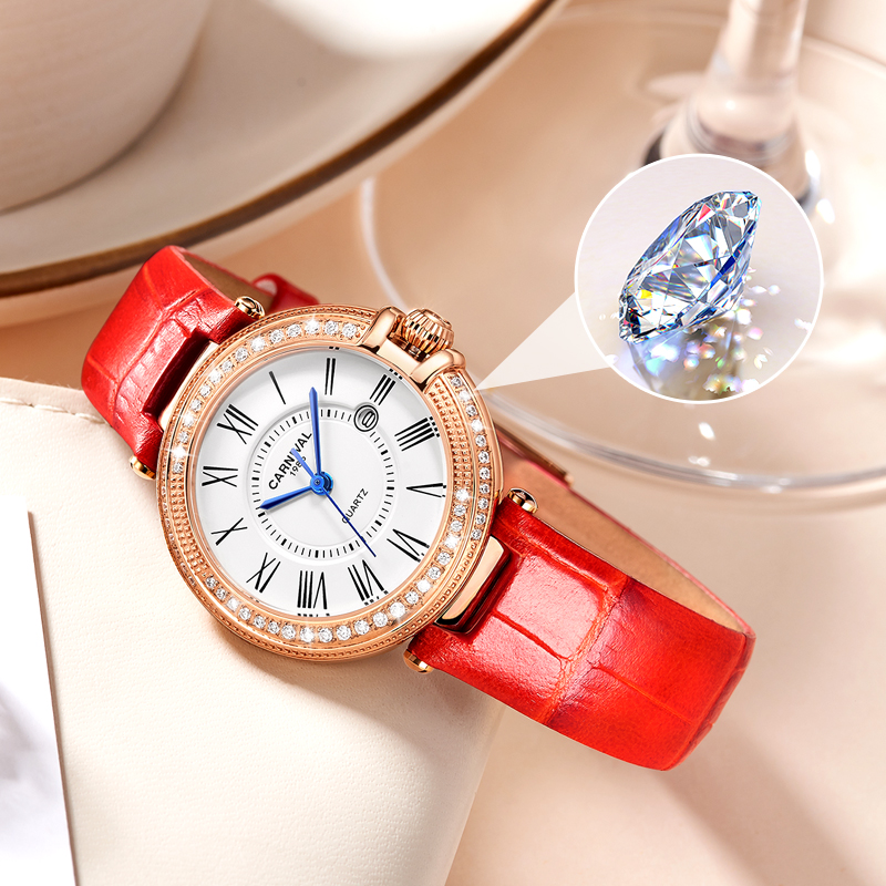 Carnival Women Watches Luxury Diamond Ladies Quartz Watch Leather Strap Wrist Watch Relogio Feminino - 5
