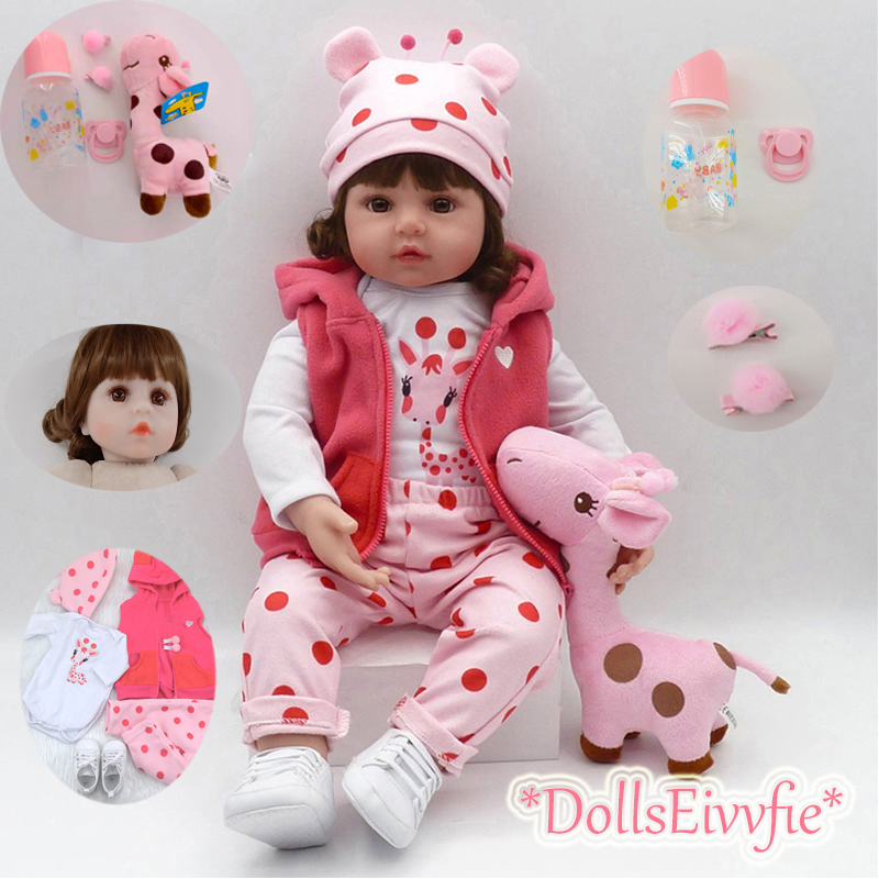 19 Inch Bebe Reborn Doll 48cm Soft Silicone Reborn Boncas Realistic Toy Boy Girl Christmas Birthday Gift Toy