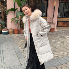New Winter 2019 Fur Hooded Parka Women Sustans Casual Pockets A Line Thick X Long Plus Size Solid Snow Jackets Coats Zipper