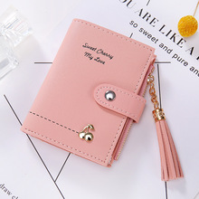 Letter Short Womens Wallets and Purses Zipper Mini Cartoon Printing Tassel Wallet Women Money Card Holder Coin Purse