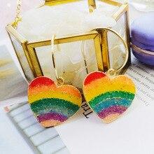 IF ME Gold Korean Fashion Heart Drop Earrings For Women 2019 NEW Trendy Handmade Geometric Round Sequin Dangle Earring Jewelry