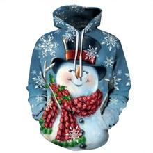 Hot Christmas Hoodie Snowman 3D Printed blue Sweatshirt Couple Hooded Xmas Costume Mens
