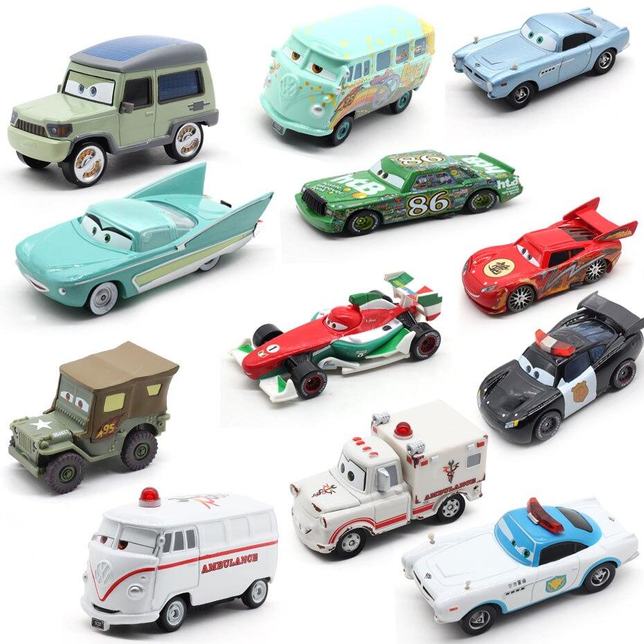 Disney Pixar Cars 2 & 3 Lightning McQueen Tractor King Mater Sheriff 1:55 Metal Diecast Toys Car Model For Boys Children Gift