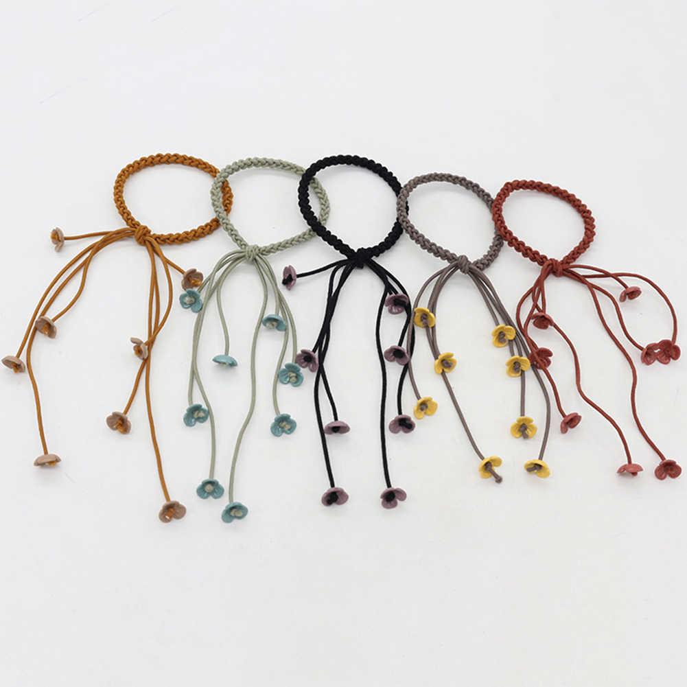 6 couleurs Nylon et caoutchouc mignon petite fleur pour les filles bandes de cheveux élastiques rose noir Bandans chapeaux femmes enfants cheveux accessoires