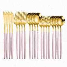 Różowy zestaw złotych sztućców ze stali nierdzewnej stalowa zastawa stołowa zestaw kuchenny naczynia przyjazne dla środowiska zestaw obiadowy łyżka widelec nóż sztućce sztućce