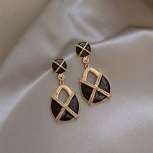 Korean New Temperament Retro French Gray-black Hollow-out Earrings Elegant Atmosphere Fashion Female Jewelry