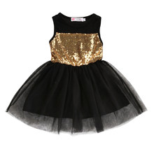 Toddler Princess Party Dresses Baby Kids Girls Clothing Pageant Black Sequined Lace Mini Gold Formal Brief Dresses(China)