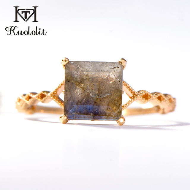 Kuololit 100% Natural Labradorite Gemstone Rings for Women 925 Sterling Silver Ring Wedding Engagement Bride Gift Fine Jewelry