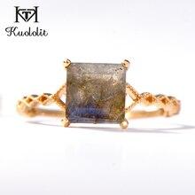 Kuololit 100% naturalny labradoryt pierścienie z kamieniami szlachetnymi dla kobiet 925 srebro pierścionek zaręczynowy ślub panna młoda prezent biżuterii