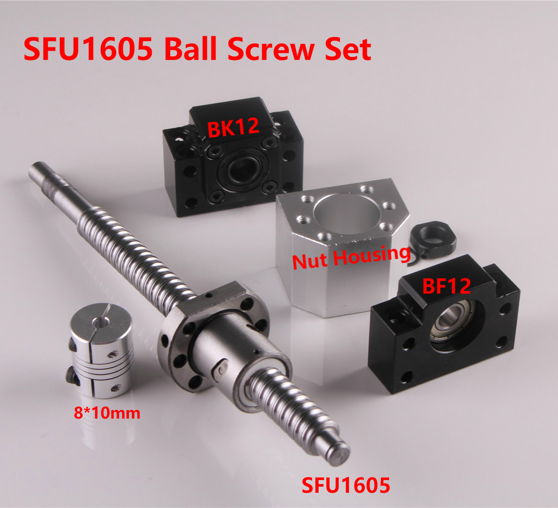 SFU1605 Set RM1605 Rolled Ball Screw C7 With End Machined + 1605 Ball Nut & Nut Housing BK/BF12 End Support +8mm X 10mm Coupler