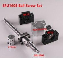 SFU1605 seti RM1605 haddelenmiş vidalı C7 End işlenmiş + 1605 somun ve somun konut BK/BF12 uç desteği + 8mm x 10mm çoğaltıcı