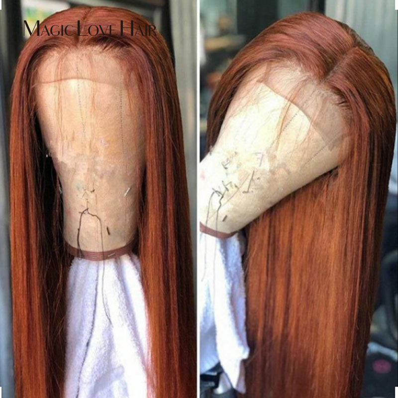 Magic Love 13x6 Lace Front Straigh Human Hair Wigs Pre Plucked With Baby Hair Remy Brazilian Long Straight  For Black Women