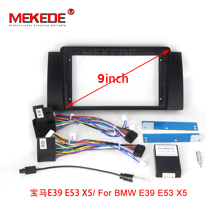 High quality new <font><b>double</b></font> Radio Fascia For <font><b>BMW</b></font> E90 E46 X5 (E53) 5 (<font><b>E39</b></font>) stereo facia frame panel dash mount kit adapter trim Bezel image