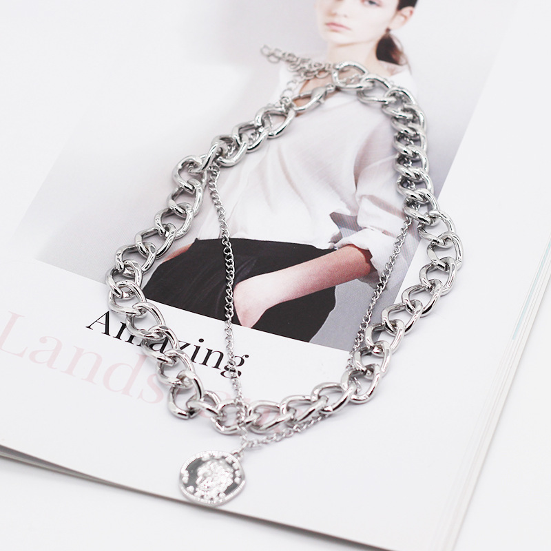 Vintage Multi layer Coin Chain Choker Necklace For Women Gold Silver Color Fashion Portrait Chunky Chain Necklaces Jewelry