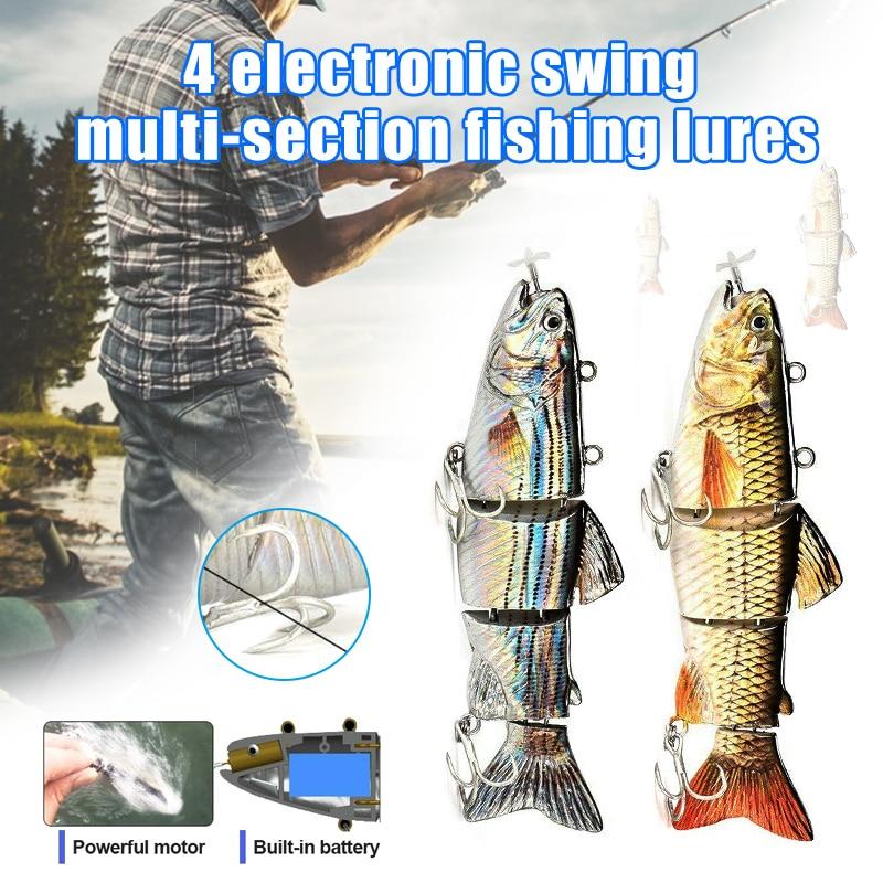 Leurre de pêche électrique Wobblers 4 segement Swimbait USB Rechargeable appâts artificiels FI-19ING