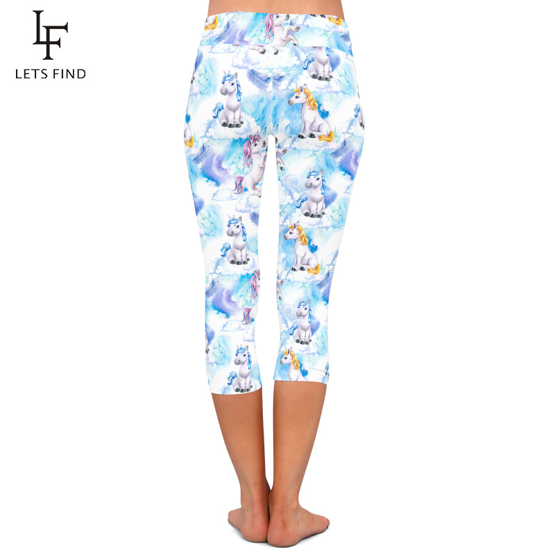 LETSFIND 220gsm Double Side Brushed Milk Silk Print 3D Baby Unicorns Pattern High Waist Plus Size Slim Mid-Calf Leggings 4