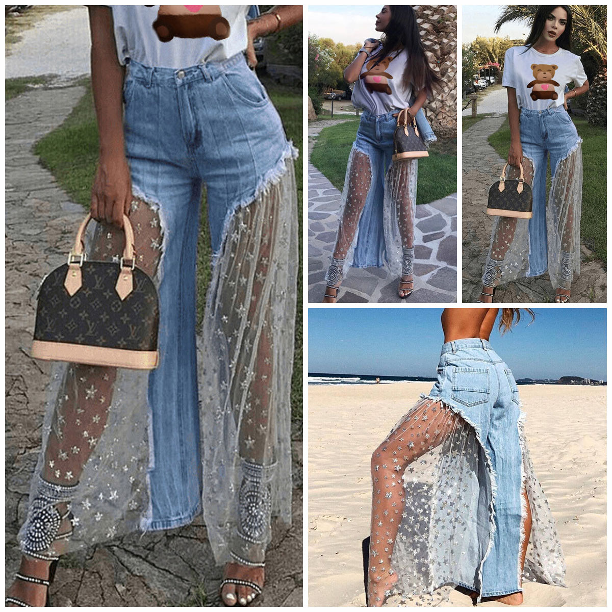 Hot Sale Women Denim Jeans Destroyed Split Joint Lace Tulle High Waist Wide Leg Pants Trousers Lace Up  Retro Bell Bottom