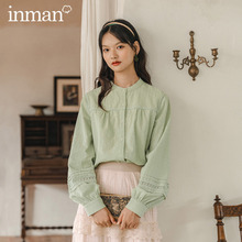 INMAN 2020 Autumn New Arrival Round Collar Single-breasted Stitching Hollowed-out Lantern Sleeve Shirt Fresh Blouse