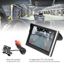 5 Inch Car TFT LCD Monitor 800*480 16:9 Screen 2 Way Video Input +170 Degrees Wide Angle Lens Night Vision Rear View Camera New