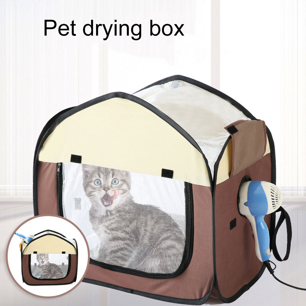Portable Foldable Pet Drying Box Tent Blowing Hair Dryer Cat Cage Dog Bath Artifact Grooming House Bag Pet Dry Room Pet Car Bag